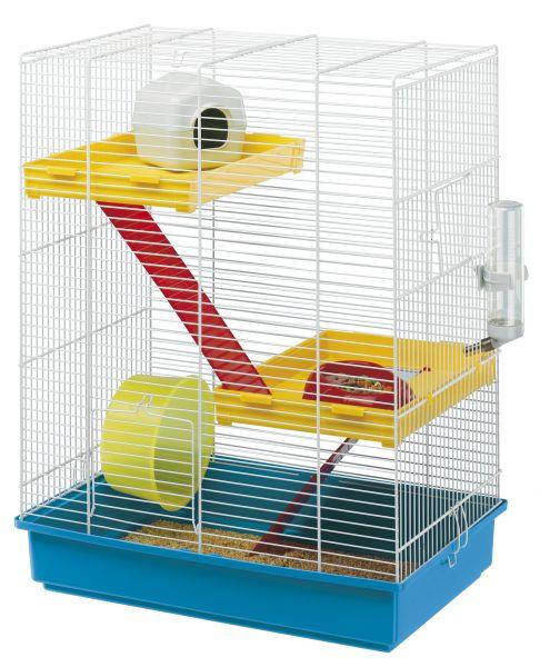 Ferplast hamsterkooi tris wit-blauw