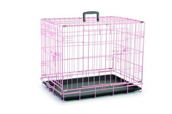 beeztees bench 2 deurs roze #95;_62x44x49 cm