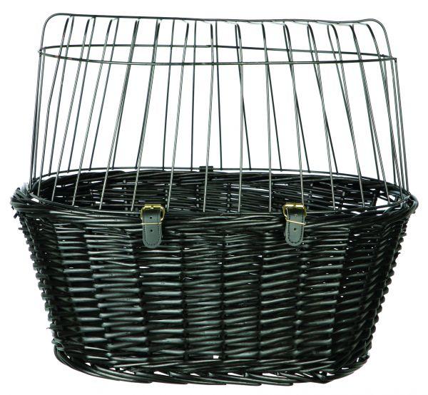trixie wilgen fietsmand voorop zwart met kussen en kap #95;_50x41x35 cm