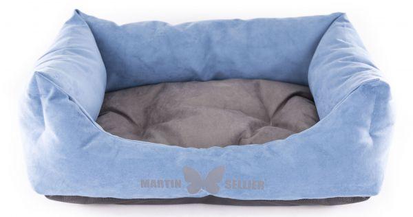 hondenmand suedine blauw / grijs #95;_110x85 cm