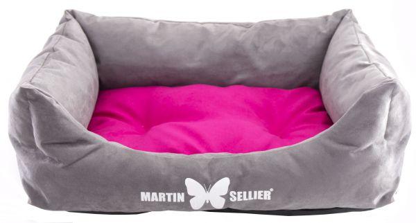 hondenmand suedine grijs / roze #95;_110x85 cm