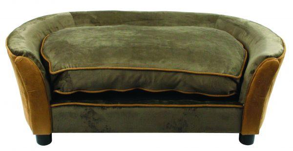 enchanted hondenmand sofa panache fluweel bruin #95;_107x58x38 cm