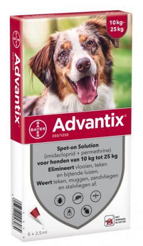 Advantix Bayer advantix spot on 250 1250 10 25 kg 6 pip