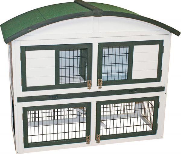 Bouwpakket konijnenhok met rond dak. plastic la en ren wit/groen