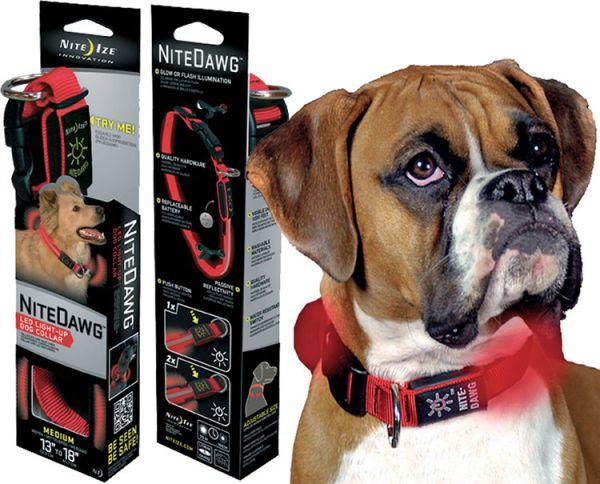 nite ize halsband voor hond verlicht verstelbaar rood