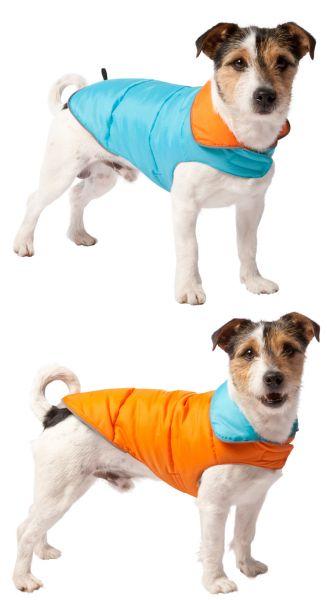 Hondenjas dubbelzijdig lichtblauw, oranje 35cm Adori