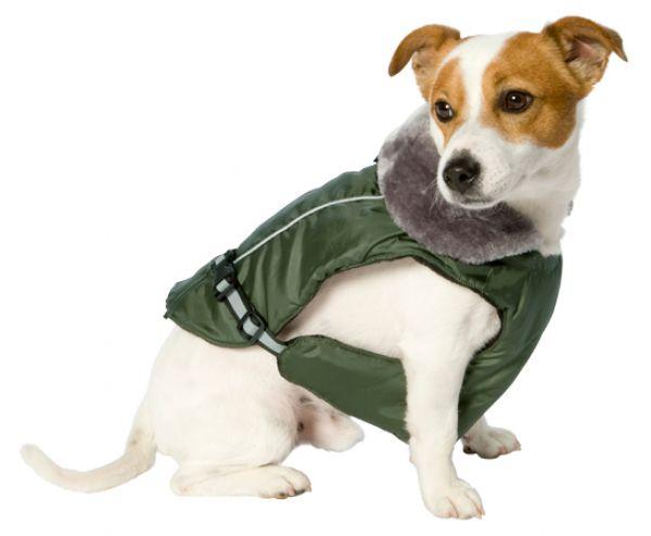 Adori hondenjas met pluche kraag groen